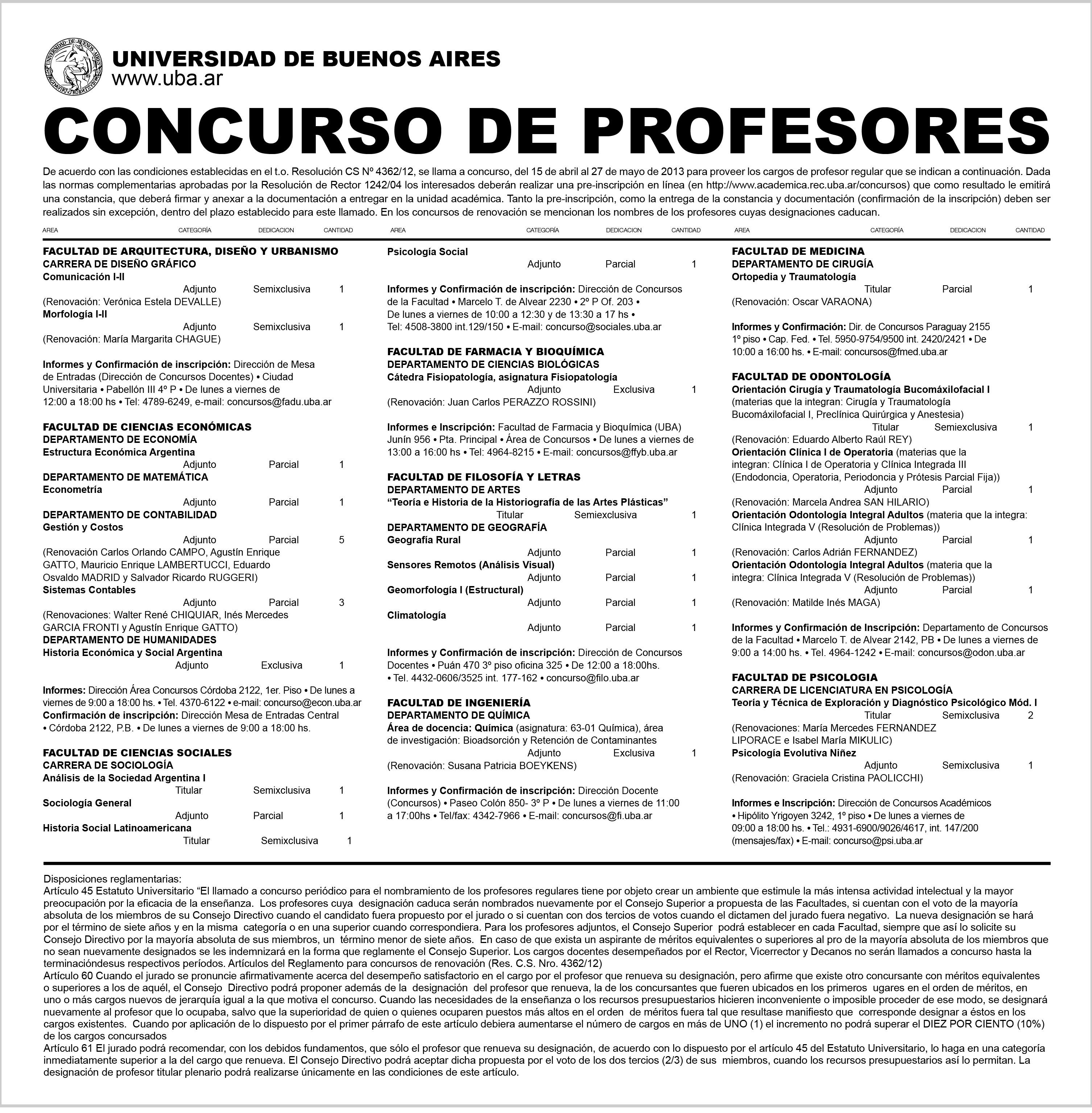 Universidad de buenos aires for Concurso para maestros